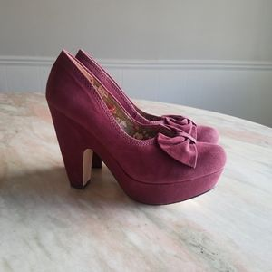 Seychelles suede bow platform chunky heels